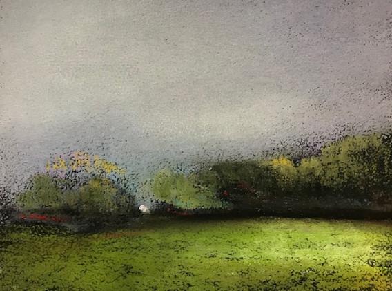 Pastel n°12  Sans titre - Paysages imaginés. 14 x 14 cm Encadré cadre bois 23 x 23 cm - passe partout - rehausse et verre anti reflets (photo 17) Pastel sec   120 euros