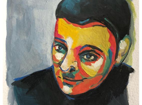 Portrait n°3  Dessin 13 x 18 Cadre 19 x 25  Passe partout et verre.  Gouache acrylique et crayon sur papier  150 euros