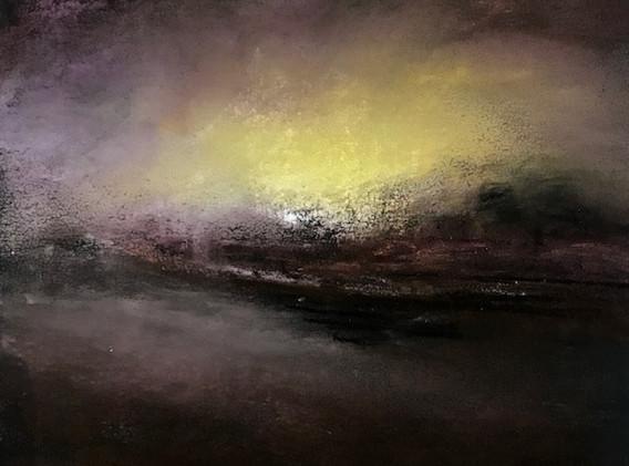 Pastel n°14  Sans titre - Paysages imaginés. 14  x 14 cm Encadré cadre bois 23 x 23 cm   Réservé