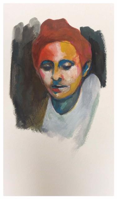 Portrait n°9  Dessin 13 x 18 Cadre 19 x 25  Passe partout et verre.  Gouache acrylique et crayon sur papier encadré sous verre et passe partout  150 euros