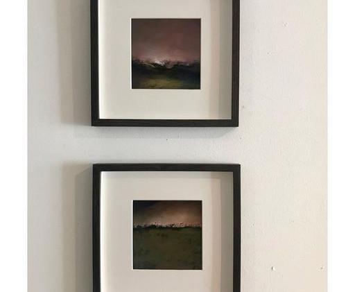Pastel n°7 (en bas)  Sans titre - Paysages imaginés. 14 x 14 cm Encadré cadre bois 23 x 23 cm - passe partout - rehausse et verre anti reflets (photo 17) Pastel sec   120 euros