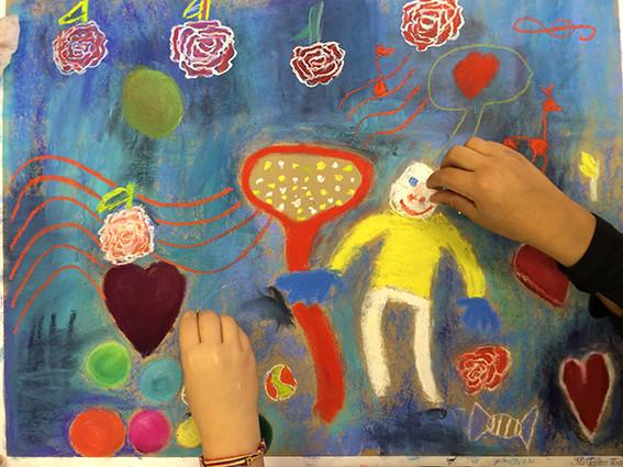 Oeuvre des élèves de la classe primaire de Fresnes l'Eguillon