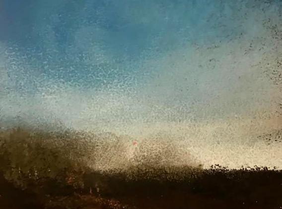 Pastel n°1  Sans titre - Paysages imaginés. 8 x 12 cm Encadré cadre bois 10 x 15 cm - passe partout - rehausse et verre anti reflets Pastel sec   réservé