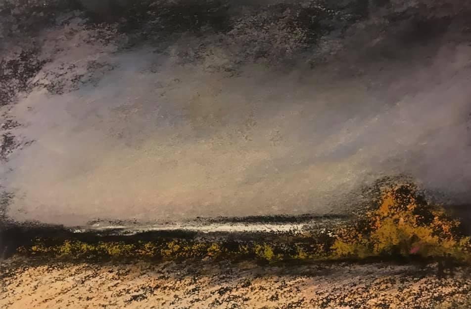Pastel n°6  Sans titre - Paysages imaginés. 8 x 12 cm Encadré cadre bois 10 x 15 cm - passe partout - rehausse et verre anti reflets (photo 17) Pastel sec   50 euros