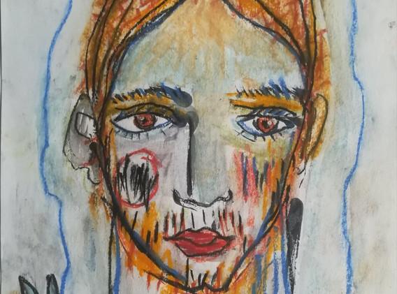 Dessin couleur n°4 21 x 29 cm Acrylique et pastel encadré   130 euros