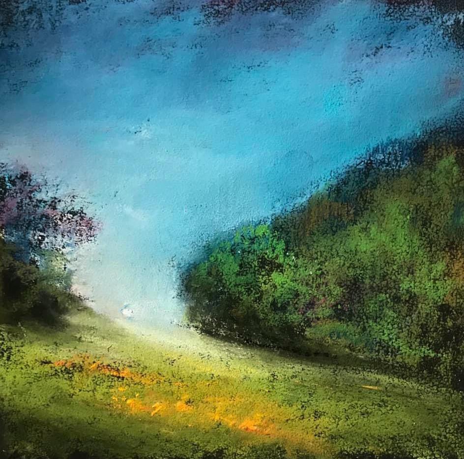 Pastel n°13  Sans titre - Paysages imaginés. 14  x 14 cm Encadré cadre bois 23 x 23 cm - passe partout - rehausse et verre anti reflets  Pastel sec   réservé