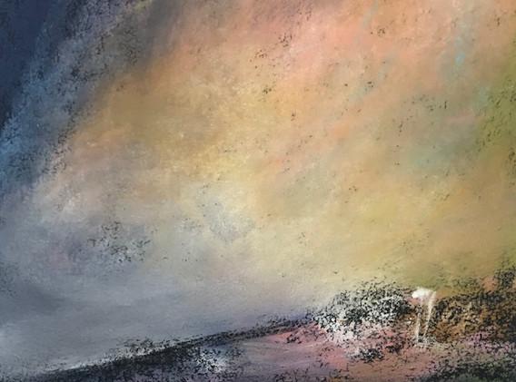 Pastel n°9  Sans titre - Paysages imaginés. 14  x 14 cm Encadré cadre bois 23 x 23 cm - passe partout - rehausse et verre anti reflets  Pastel sec   120 euros