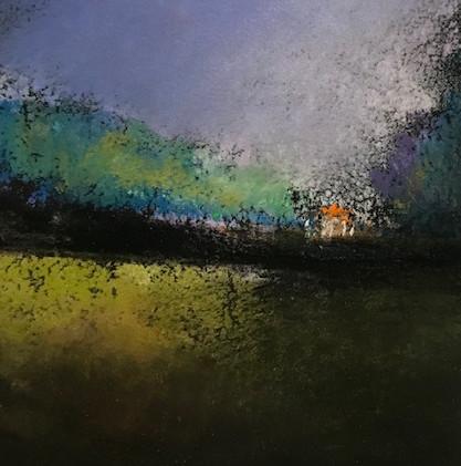 Pastel n°4  Sans titre - Paysages imaginés. 8 x 12 cm Encadré cadre bois 10 x 15 cm - passe partout - rehausse et verre anti reflets Pastel sec   50 euros