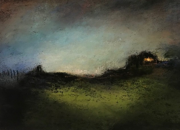 Pastel n°7  Sans titre - Paysages imaginés. 13 x 18 cm Encadré cadre bois 20 x 30 cm - passe partout - rehausse et verre anti reflets (photo 17) Pastel sec   150 euros