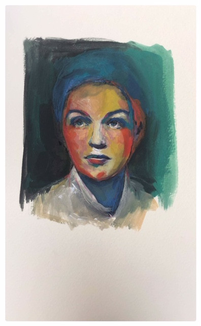 Portrait n°7  Dessin 13 x 18 Cadre 19 x 25  Passe partout et verre.  Gouache acrylique et crayon sur papier encadré sous verre et passe partout  réservé