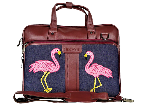 Hand Embroidered Pelican Laptop Bag