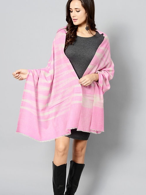 Pink Color Striped Handwoven Pashmina Stole