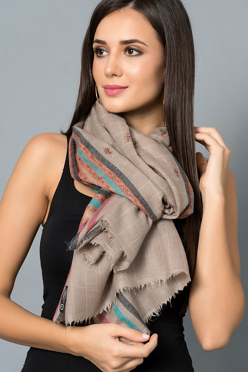 Grey Multi-Colored Hand-Embroidered  Pashmina Stole