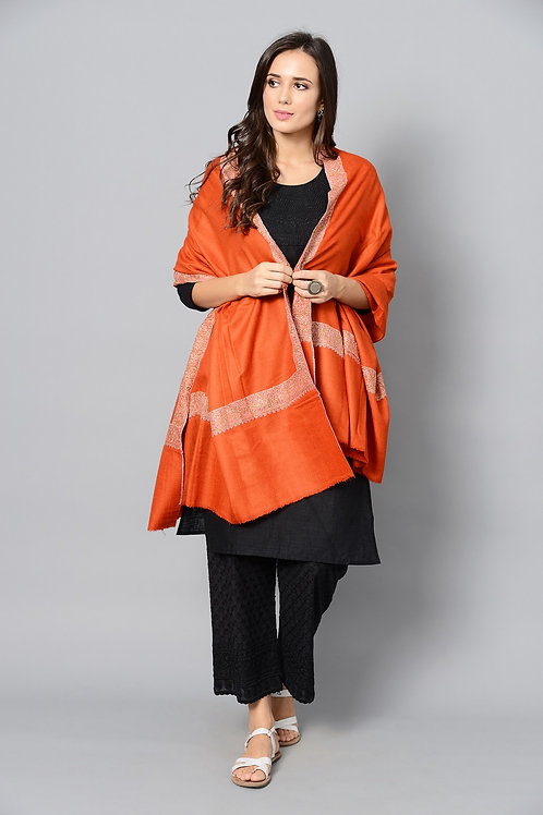 Orange Multi-Color Hand-Embroidered Pashmina Shawl
