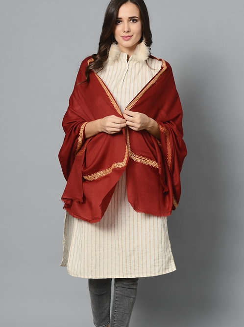 Red Golden-Tila Hand-Embroidered Pashmina Stole