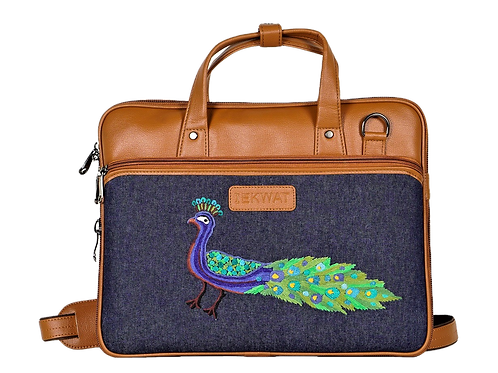 Hand Embroidered Peacock Laptop Bag