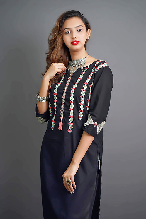 Black Kurta with Trousers with Aari Hand Embroidery