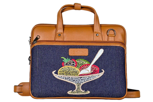 Hand Embroidered Ice-cream Laptop Bag