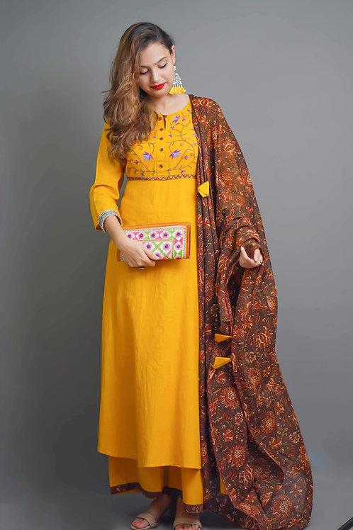 Mustard Yellow Brown Kurta & Plazzo with Aari Hand Embroidery