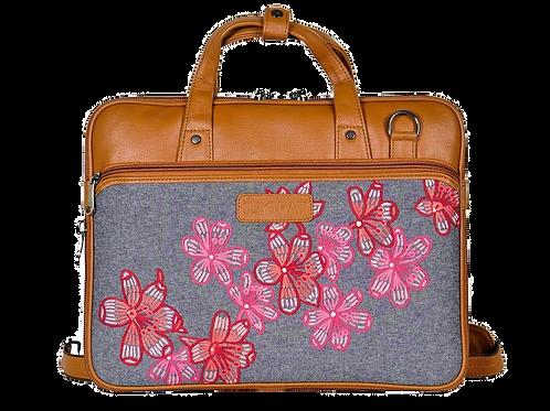 Hand Embroidered Flower Laptop Bag