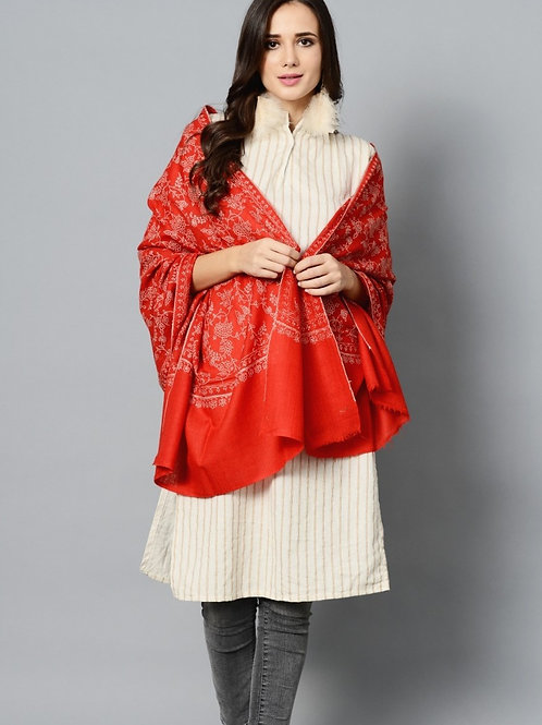 Red-White Hand-Embroidered Pashmina Stole