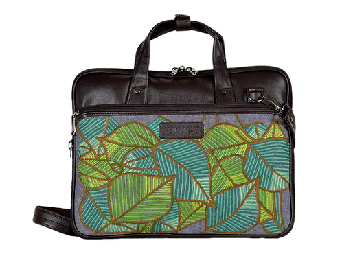 Hand Embroidered Leaves Laptop Bag