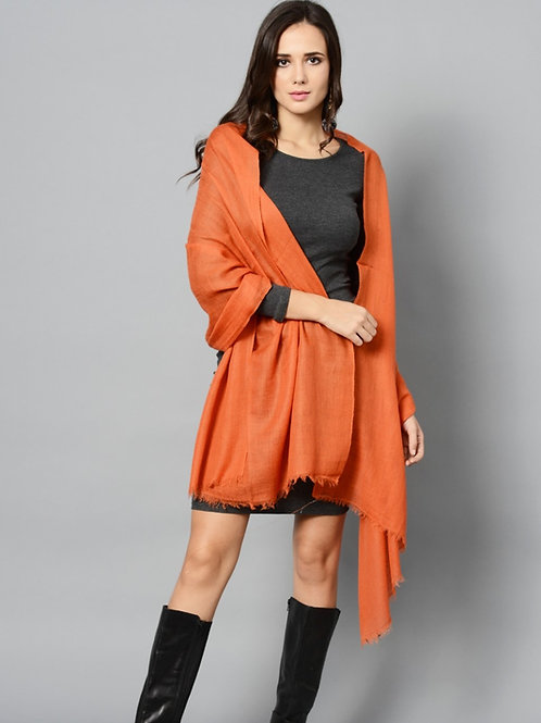 Orange Colored Handwoven Pashmina Stole