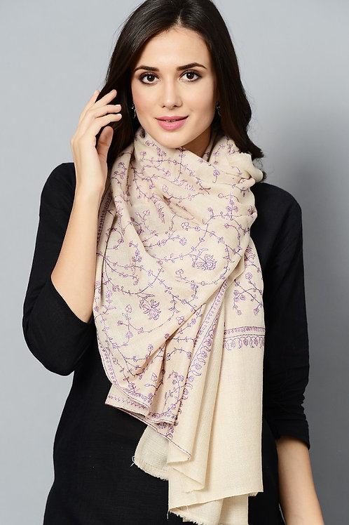 Off-White Pink-Purple Hand-Embroidered Pashmina Stole