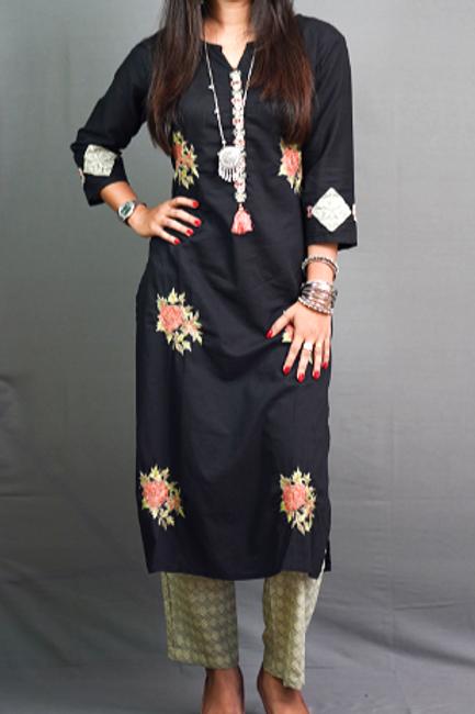 Black Colored Kurti with Sozni Hand embroidery