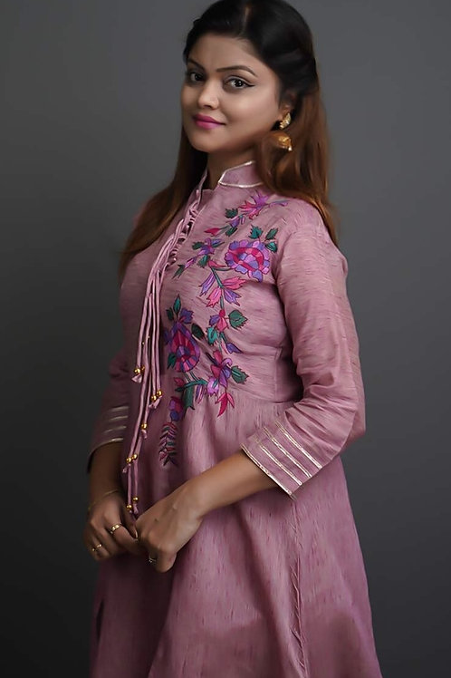 Pink Solid Mid A-Line Dress with Sozni Hand Embroidery