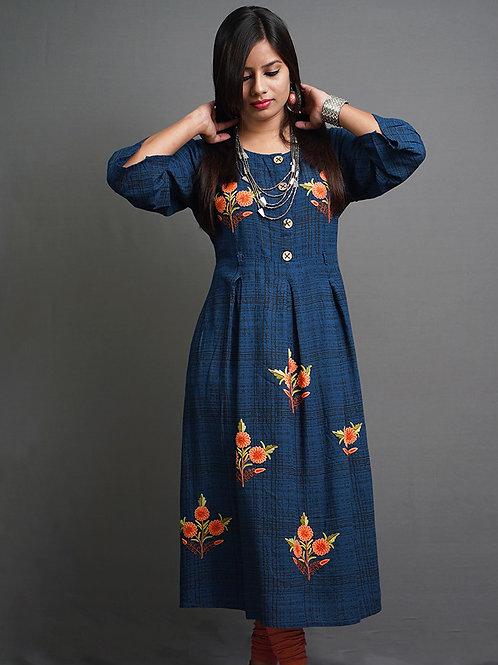 Navy Blue & Black Printed A-Line Kurta with Aari Hand Embroidery