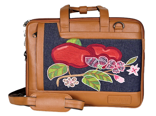 Hand Embroidered Apple Laptop Bag