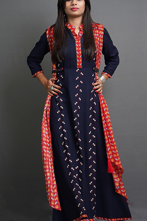 Navy Blue and Red Layered Solid A-Line Kurta with Soni Hand Embroidery