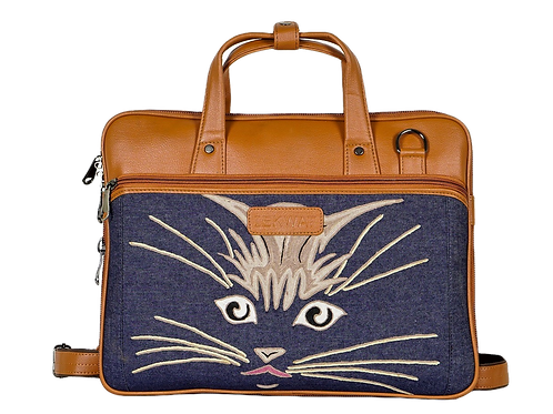 Hand Embroidered Cat Laptop Bag
