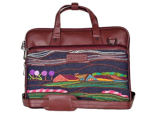 Hand Embroidered Nature Laptop Bag
