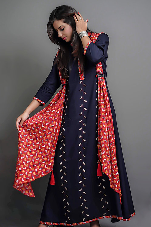 Navy Blue - Red Layered A-Line Kurta with Sozni Hand Embroidery