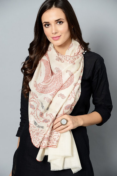 White & Maroon Hand-Embroidered Pashmina Stole