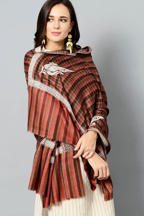 Tilla-Work Hand-Embroidered Pashmina Shawl