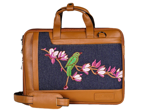 Hand Embroidered Parrot Laptop Bag