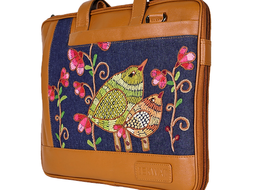 Hand Embroidered Sparrow Laptop Bag