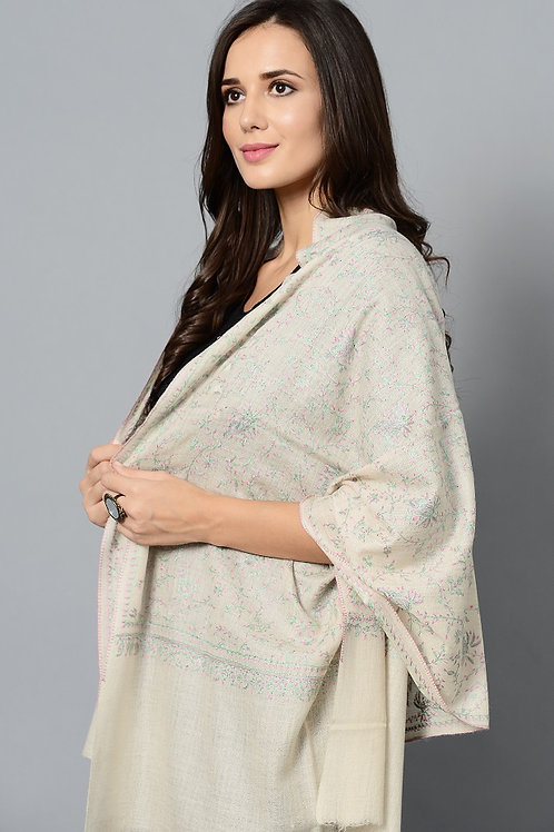 Off-White & Pink-Green Hand-Embroidered Pashmina Stole