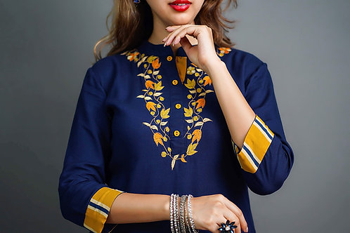 Navy Blue - Mustard Yellow Kurti & Plazzo with Sozni Hand Embroidery