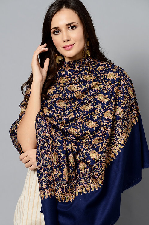 Blue-Golden Hand-Embroidered Pashmina Shawl