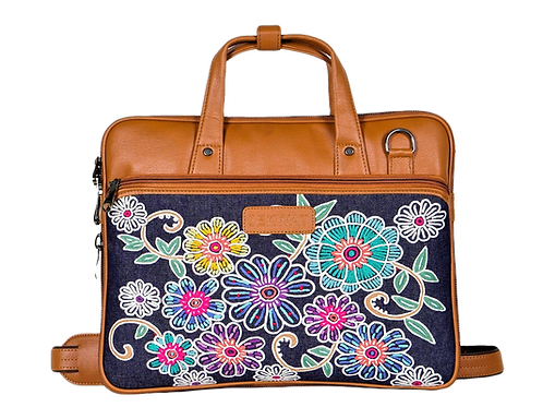 Hand Embroidered Floral Laptop Bag