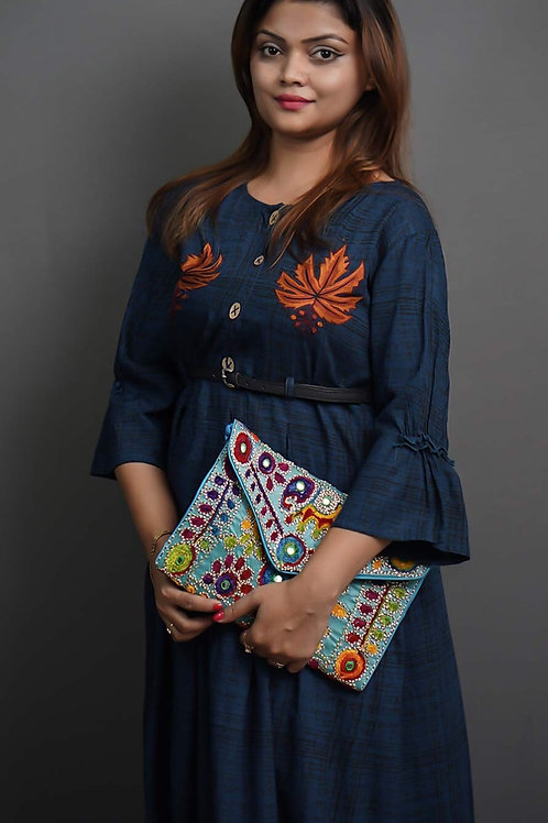 Navy Blue & Black A-Line Kurta with Sozni Hand Embroidery