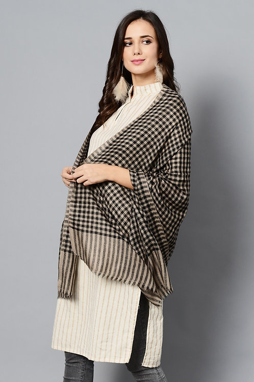Black Color Check Handwoven Pashmina Stole
