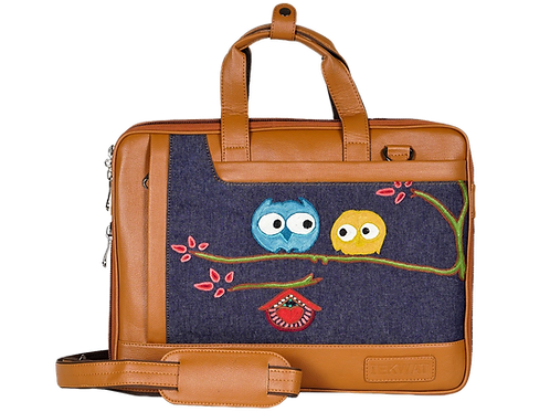 Hand Embroidered Owl Laptop Bag