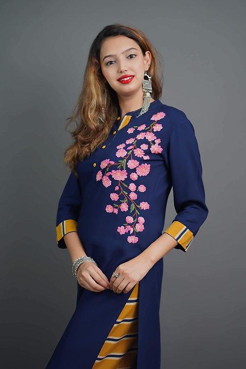 Navy Blue - Mustard Yellow Kurta & Plazzo with Aari Hand Embroidery