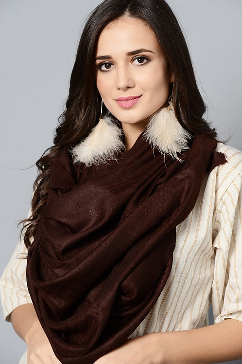 Brown Colored Handwoven Pashmina Stole