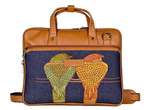 Hand Embroidered Birdie Laptop Bag
